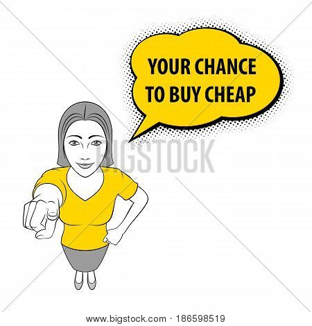 Illustration of a Woman Pointing at You. You Chance to Buy Cheap