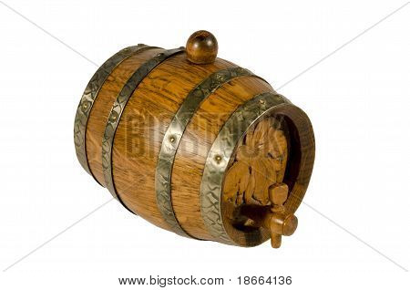 Old wooden wine barrel on white background