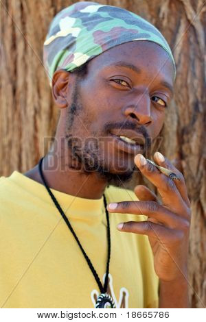Rastafarian smoking marijuana