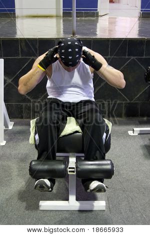 man training with gym weights