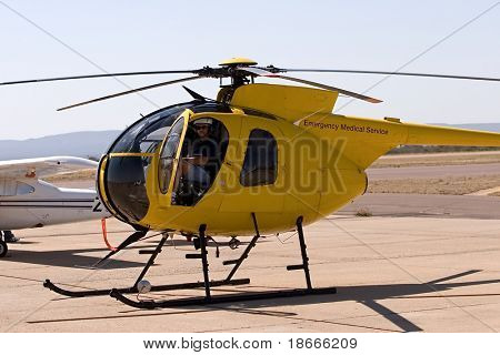 Helicopter pilot in the cockpit