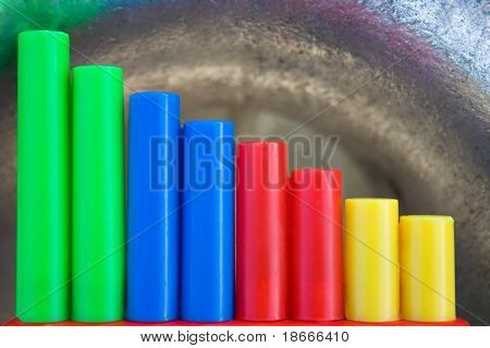 plastic cylinders in a cast iron galvanized tube