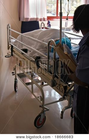 Healthcare personnel carry one patient, medical series