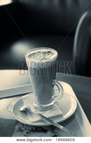 coffee latte, rendering in abstract yellowish blue color (white balans is correct)