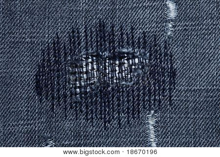 very detailed hi res photo of denim with stitched darned holes