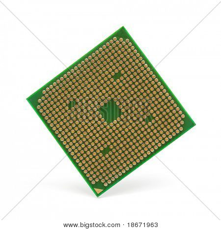 Silicone chip CPU isolated on white background.