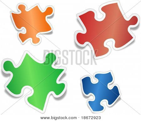 Shiny jig saw puzzle pieces
