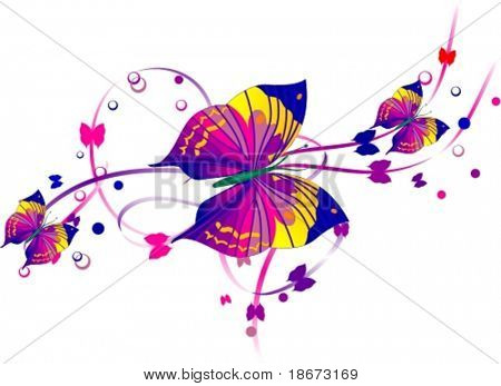 Three Purple Butterflies and Purple Scrolls.