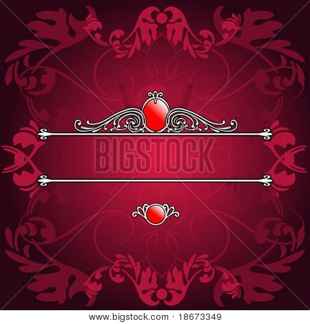 Decorative Purple Ornate Banner. Vector Illustration. No Meshes