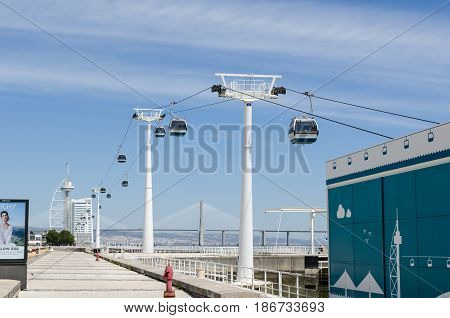 LISBON, PORTUGAL - APRIL 27: Cablecars by the river in Lisbon Portugal on April 27, 2017