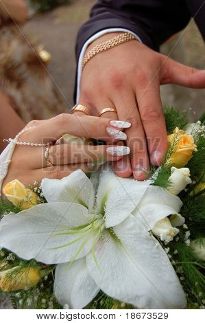 Just Married. Hands.