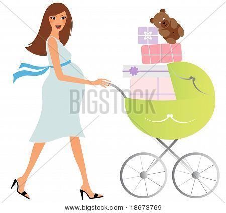 Pregnant woman with a full carriage