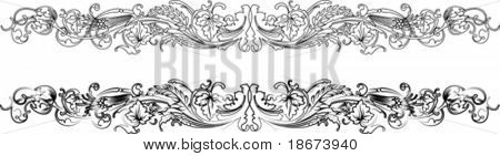 Baroque Border Two Styles: Traditional and Calligraphy.All Curves Separately. Anothe Calligraphy in portfolio.
