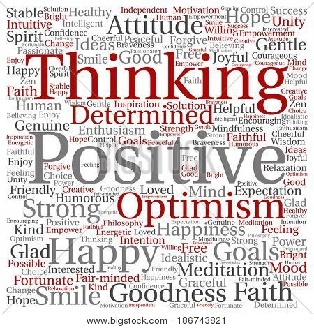 poster of Concept, conceptual positive thinking, happy strong attitude square word cloud isolated on backgroun
