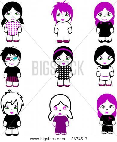 Nine Brand New Emo Dolls. More Emo in my portfolio.