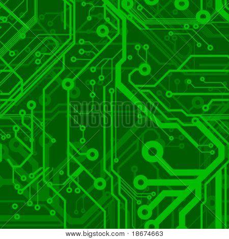 Green Seamless Printed Circuit Board Pattern