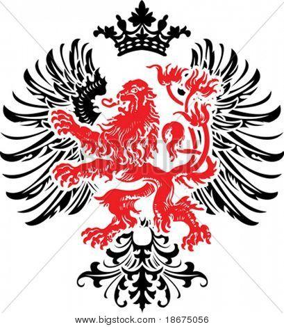 Black Red Decorative Heraldry Ornate Banner. Vector Illustration.