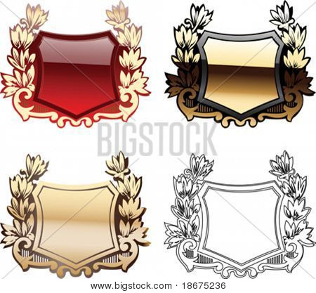 Four Ornate Red And Glow Heraldry Shields