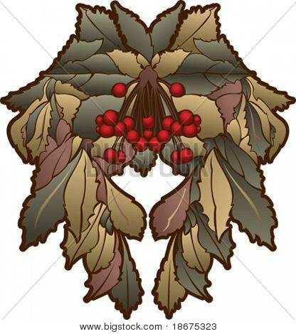 Autumn Leaves And Red Berries Symmetry Composition