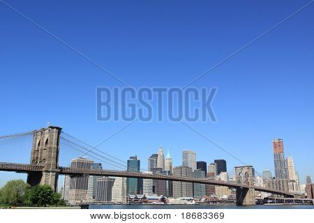 Stock Photo: Brooklyn Bridge and Manhattan Skyline, New York City