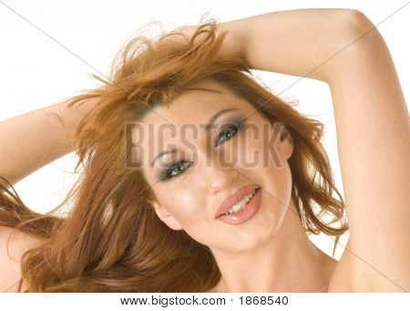Beautiful Redheaded Woman Smiling And Looking Happy