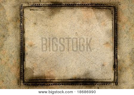 Computer designed highly detailed grunge textured border and aged paper background with space for your text or image