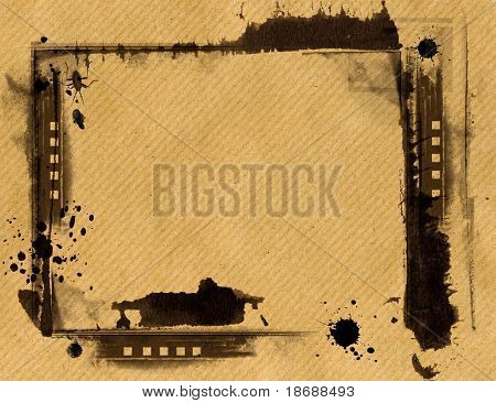 Computer designed highly detailed  border and aged textured  paper background with space for your text or image. Nice grunge layer for your projects.