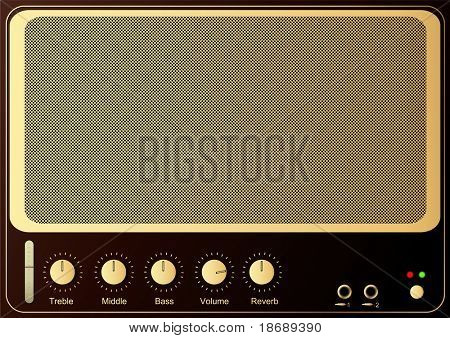 Editable vector retro guitar amp background