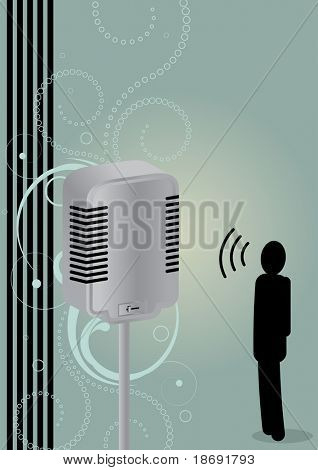 """Small man"" talking on a microphone , conceptual vector illustration"