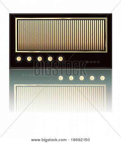 Illustration of retro guitar tube amp on white reflective background