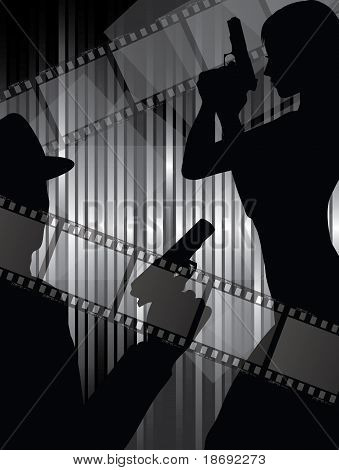 Silhouettes With Gun And Filmstrips