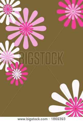 Retro Brown & Pink Floral Background