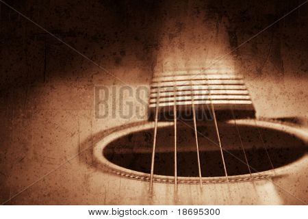 Grunge textured guitar background with space for your text