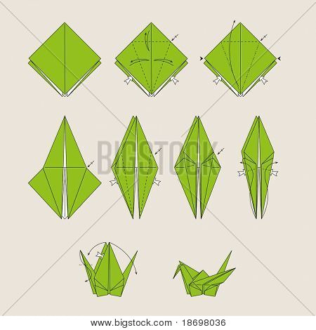 Origami green vector bird on light brown background