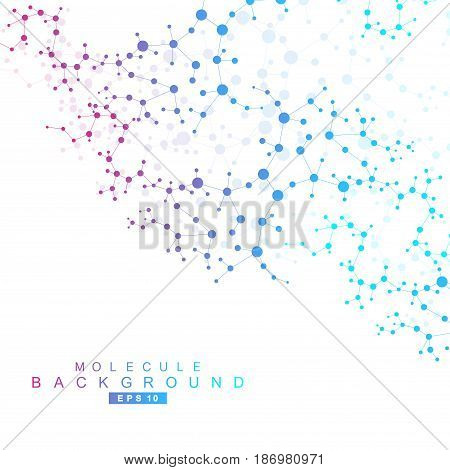 poster of Structure molecule and communication. Dna, atom, neurons. Scientific concept for your design. Connected lines with dots. Medical, technology, chemistry, science background. Vector illustration