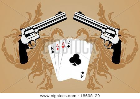 Revolver and playind cards on bround background