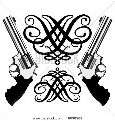 Vector revolver magnum on white background (illustration)