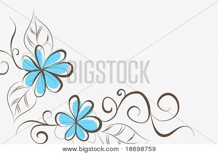 beautiful Floral vector background (flowers on gray)