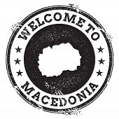 Постер, плакат: Vintage Passport Welcome Stamp With Macedonia The Former Yugoslav Republic Of Map Grunge Rubber St