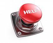 Red Help button - help concept. 3d render poster
