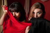 stock photo of partially clothed  - Two gorgeous belly dancers partially cover their face with a piece of cloth - JPG