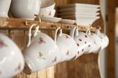 pic of shabby chic  - white tea cups shabby chic interior - JPG