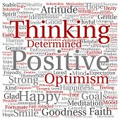 Concept, conceptual positive thinking, happy strong attitude square word cloud isolated on backgroun poster