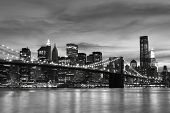 picture of new york night  - Brooklyn Bridge and Manhattan Skyline At Night - JPG
