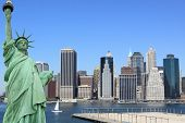 Manhattan Skyline and The Statue of Liberty on a clear day, New York City poster