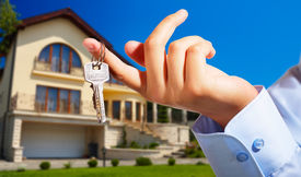 stock photo of real-estate agent  - House owner - JPG