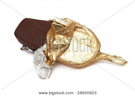 chocolate ice cream in foil on a white background