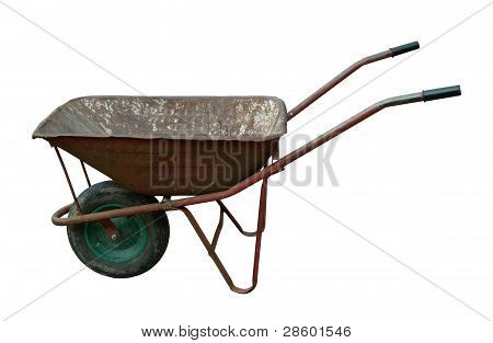 old rusty vintage wheelbarrow