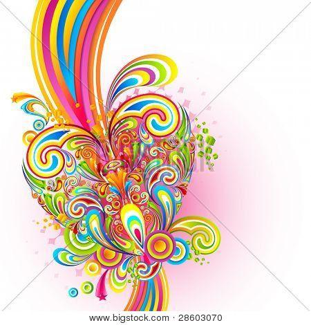 illustration of colorful swirl in love background