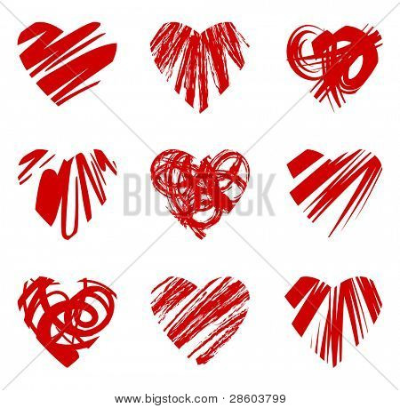 set of grunge hearts, vector illustration